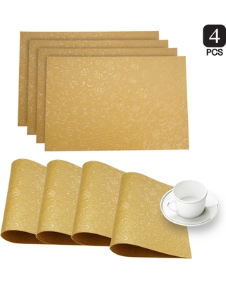 Dainty Home Susan Gold Faux Leather Placemat (Set of 4)