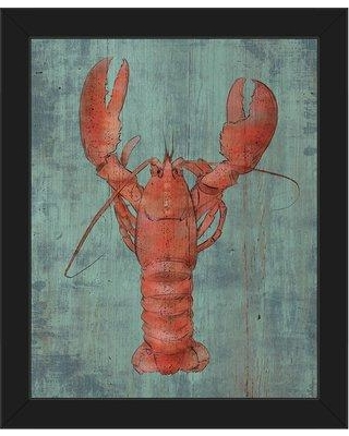 """Click Wall Art 'Lobster in Red Nautical' Framed Painting Print on Canvas BHS0000575FRA Size: 26.5"""" H x 22.5"""" W x 1"""" D Frame Color: Black"""