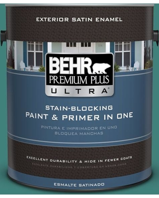BEHR ULTRA 1 gal. #M450-6 Bubble Turquoise Satin Enamel Exterior Paint and Primer in One