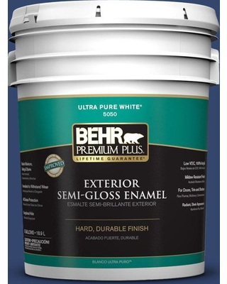 BEHR Premium Plus 5 gal. #S-H-610 Mountain Blueberry Semi-Gloss Enamel Exterior Paint and Primer in One