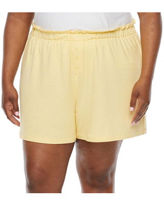 Ambrielle Womens - Plus French Terry Shorts, 3x , Yellow