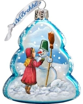 The Holiday Aisle Playing Snowman Glass Ornament THLY6739