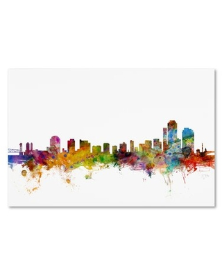 "'Wilmington Delaware Skyline' Graphic Art Print on Wrapped Canvas Trademark Fine Art Size: 16"" H x 24"" W x 2"" D"