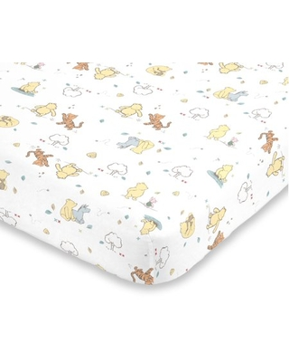 Disney Winnie the Pooh Classic Pooh 100% Cotton Fitted Mini Crib Sheet in Ivory, Butter, Aqua and Orange