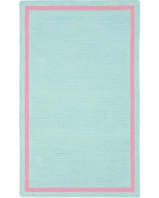 Capel Chenille Rug 5 ' x 8 ' Rectangle, Light Aqua with Bright Pink