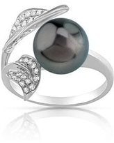 Radiance Pearl 14k Gold Tahitian South Sea Pearl and Diamond Accent Ring (9mm) (6 - White)