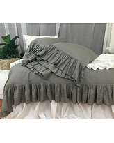 Medium Grey Linen Duvet Cover with Mermaid Long Ruffles, Linen Ruffle Bedding, Ruffle Duvet Cover, Shabby Chic Bedding, Grey Bedding, FREE SHIPPING