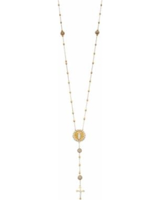 24k Gold Over Silver Cubic Zirconia Rosary Necklace, White