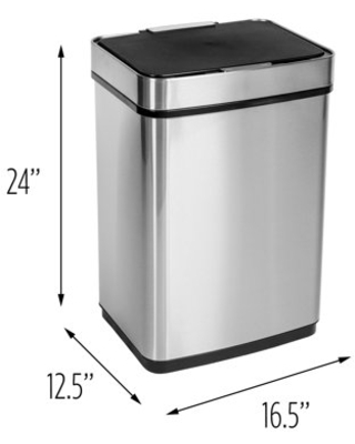 Honey Can Do 50L Stainless Steel Trash Can with Motion Sensor and Soft Close