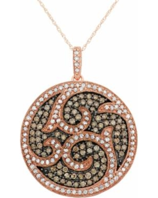 1 1/2 Carat T.W. Brown and White Diamond 10k Rose Gold Scrollwork Pendant Necklace, Women's, Size: 18""