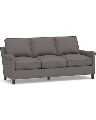 """Tyler Roll Arm Upholstered Sofa 78"""" without Nailheads, Down Blend Wrapped Cushions, Sunbrella(R) Performance Slub Tweed Charcoal"""