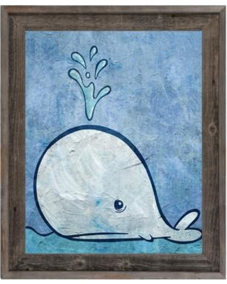 "Click Wall Art 'Thar She Blows' Framed Painting Print URB0000333FR Size: 17.5"" H x 14.5"" W x 1"" D"