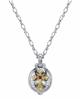 """Symbols of Faith Silver-Tone and 14K Gold-Dipped St. Jude Lift-Up Necklace 20"""" - Multi"""