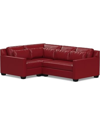 York Square Arm Leather Deep Seat Right Arm 3-Piece Corner Sectional with Bench Cushion, Polyester Wrapped Cushions, Leather Signature Berry Red