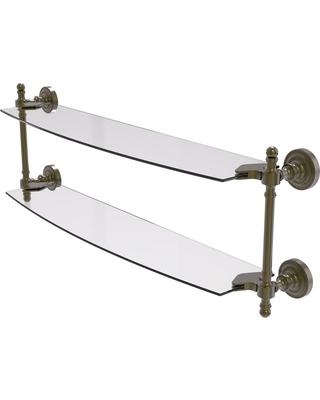 Allied Brass Retro Dot Collection 24 in. 2-Tiered Glass Shelf in Antique Brass