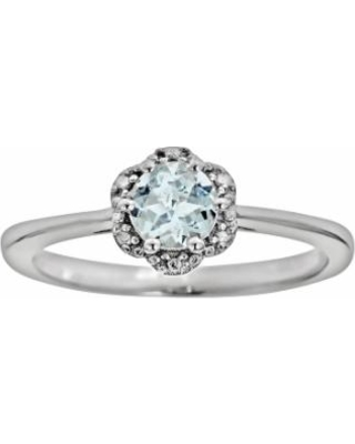 Sterling Silver Aquamarine Studded Flower Ring, Women's, Size: 5, Blue