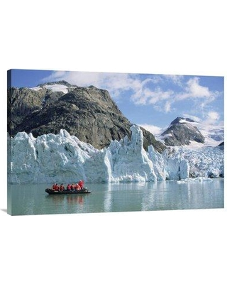 """East Urban Home 'Tourists at Glacier Southern Greenland Fjords Prins Christian Sound Greenland' Photographic Print EAUB5065 Size: 24"""" H x 36"""" W Format: Wrapped Canvas"""