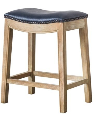 """358625B-V05-WS Elmo Collection 21"""" Counter Stool with Bonded Leather Weather Smoke Legs Wood Construction Nail Head Accents and Foot Rest in"""