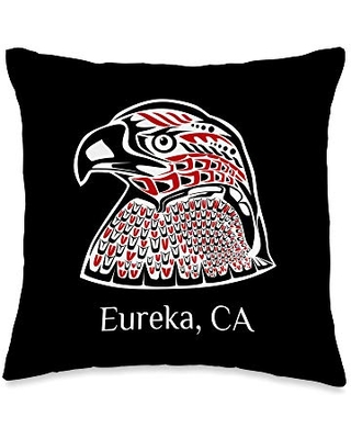 Native American Indian California Eagle Totem Pacific NW Native American Indian Eagle Eureka CA Throw Pillow, 16x16, Multicolor