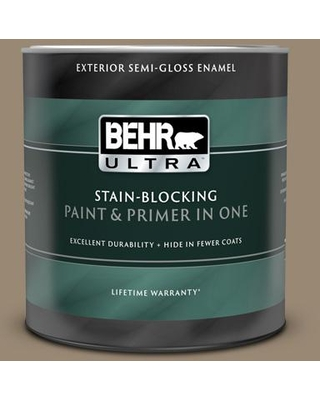 BEHR ULTRA 1 qt. #N310-5 Weathered Fossil Semi-Gloss Enamel Exterior Paint and Primer in One