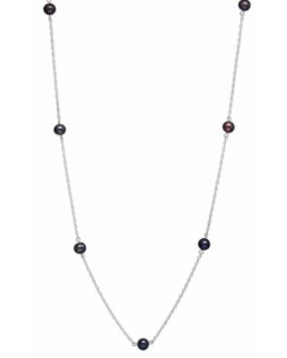 """14k White Gold Freshwater Cultured Pearl Station Necklace, Women's, Size: 18"", Black"""
