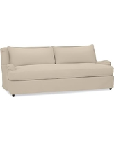 "Carlisle Slipcovered Sofa 80"" with Bench Cushion, Polyester Wrapped Cushions, Twill Parchment"