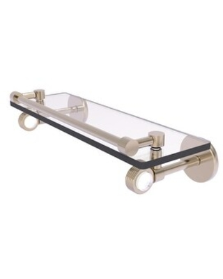 Allied Brass Clearview Collection Gallery Rail Glass Shelf with Groovy Accents (Antique Pewter - 16 Inch)