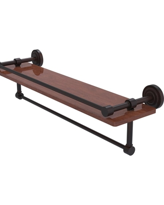 Allied Brass Dottingham Collection 22 in. IPE Ironwood Shelf with Gallery Rail and Towel Bar in Venetian Bronze