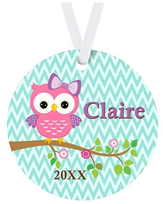 Owl Ornament - Turquoise Woodland Bird Personalized Name Christmas Ornament
