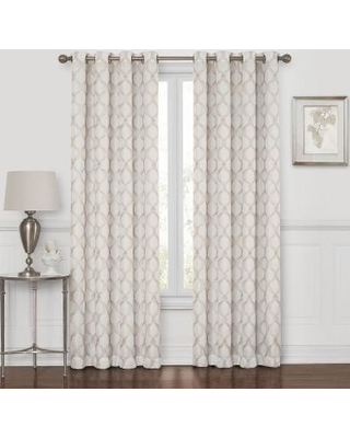 Embroidered Geometric 100% Blackout Grommet-Top Curtain Panel, Ivory Linen, One Size, 678298259822