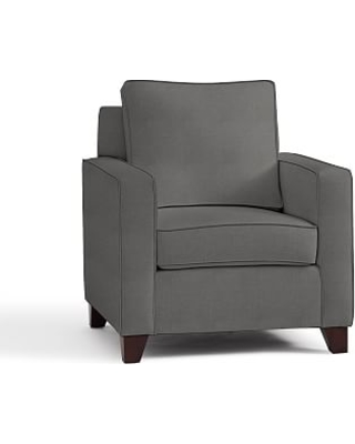 Cameron Square Arm Upholstered Armchair, Polyester Wrapped Cushions, Basketweave Slub Charcoal