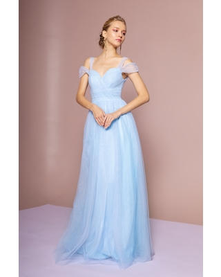 Elizabeth K - GL2610 Cold Shoulder Sweetheart Neck Tulle A-Line Gown