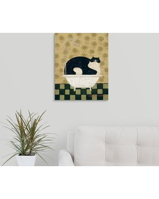 """GreatBigCanvas 16 in. x 20 in. """"Cat in a Hot Tin Tub"""" by Warren Kimble Canvas Wall Art, Multi-Colored"""
