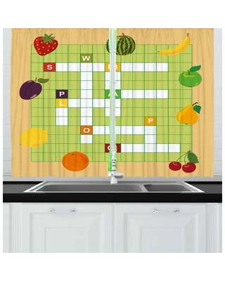Word Search Puzzle 2 Piece Kitchen Curtain East Urban Home