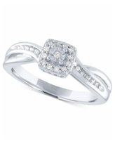 Diamond Square Cluster Promise Ring (1/10 ct. t.w.) in Sterling Silver - Sterling Silver