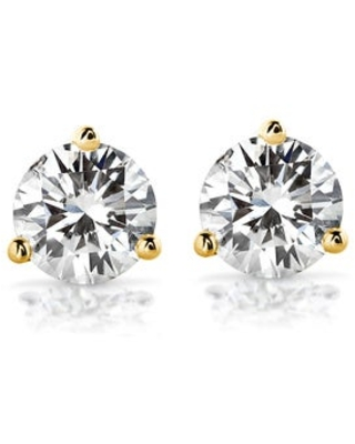 Annello by Kobelli 14k Gold Round Brilliant-cut Moissanite Stud Earrings (7.5mm - Yellow - Yellow)