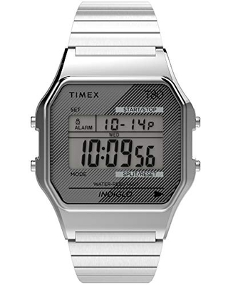Timex T80 34mm Watch – Silver-Tone with Stainless Steel Expansion Band