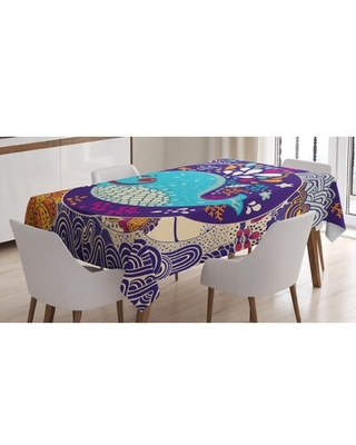 Ambesonne Sea Animals Tablecloth, Cartoon Illustration With Smiley Whale In Bubble Water Waves Starfish Coral, Rectangular Table Cover For Dining Room