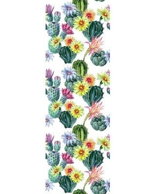 """Bungalow Rose Vicky Removable Cactus 4.17' L x 25"""" W Peel and Stick Wallpaper Roll W000822107"""
