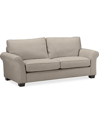 PB Comfort Roll Arm Upholstered Sleeper Sofa, Box Edge Polyester Wrapped Cushions, Performance Twill Stone