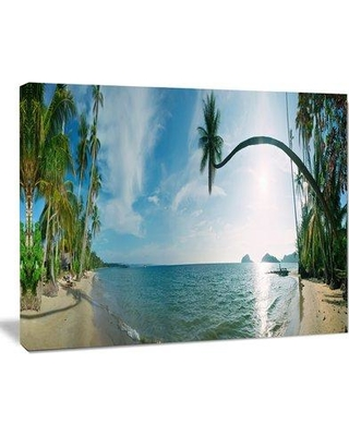 "Design Art Tropical Beach Panorama Photographic Print on Wrapped Canvas PT6910- Size: 30"" H x 40"" W"
