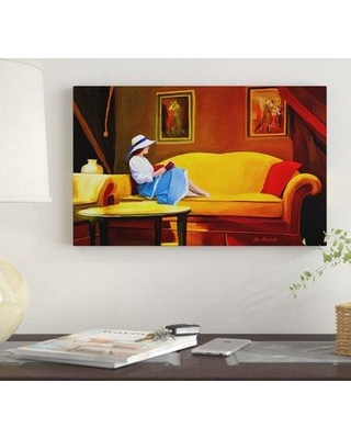 "Winston Porter 'Reading 1' Oil Painting Print on Wrapped Canvas WNST7230 Size: 30"" H x 47"" W"