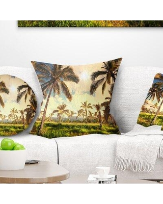 East Urban Home African Landscape Beautiful Palm Plantation Pillow, Product Type: Throw Pillow, Polyester/Polyfill/Polyester/Polyester blend in Green
