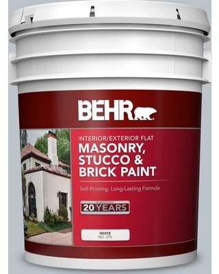 BEHR 5 gal. #N490-2 Icicles Flat Interior/Exterior Masonry, Stucco and Brick Paint