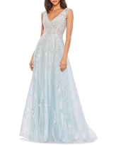Mac Duggal Embroidered Net A-Line Gown, Size 4 in Ice Blue at Nordstrom