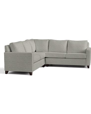 Cameron Square Arm Upholstered 3-Piece L-Shaped Corner Sectional, Polyester Wrapped Cushions, Premium Performance Basketweave Light Gray