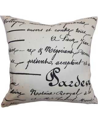 """The Pillow Collection Saloua Typography Cotton Throw Pillow P Color: Onyx Natural Size: 24"""" x 24"""""""