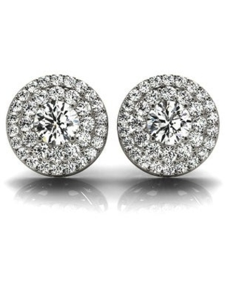 Amcor Design 14K Gold 1.30 CT Double Round Cut Diamond Solitaire Stud Earrings (White)