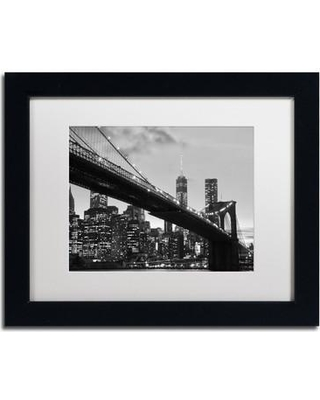 "Trademark Fine Art 'Brooklyn Bridge 5' by CATeyes Framed Photographic Print MZ0294-B1 Size: 11"" H x 14"" W Matte Color: White"