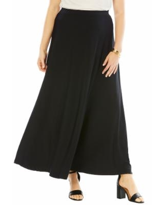 Plus Size Women's Ultra Smooth Maxi Dress Skirt by Roaman's in Black (Size 14/16)